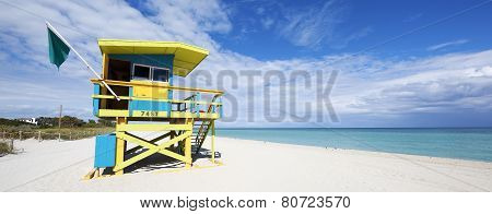 Colorful Lifeguard Tower In South Beach
