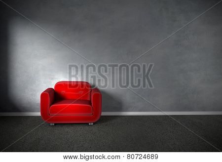Armchair In Empty Room With Concrete Wall