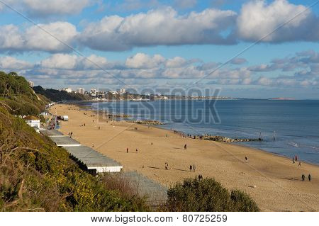 Sunny weather brought visitors to Branksome beach Poole on the Dorset coast to enjoy the winter sun