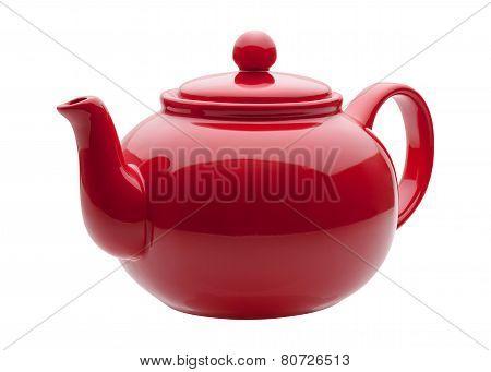 Red Ceramic Teapot