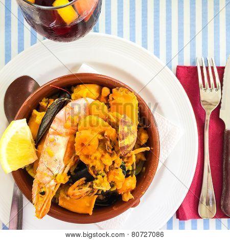 Seafood Dish And Sangria