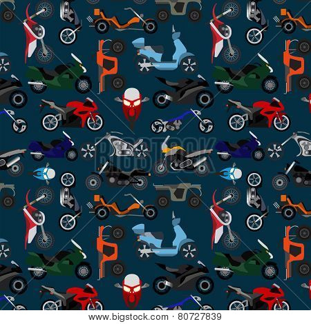 Coloured motorcycles background, wallpaper, pattern.