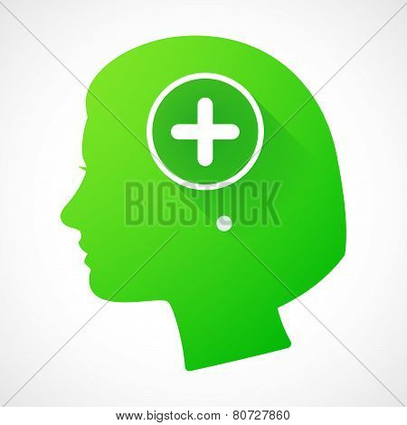 Female Head Silhouette Icon With A Sum Sign