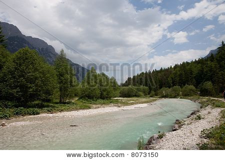 Wonderfual river valley in Austrian alps