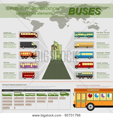 Public transportation, buses. Set elements infographics.