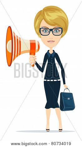 Female messenger negotiator with a loudspeaker horn