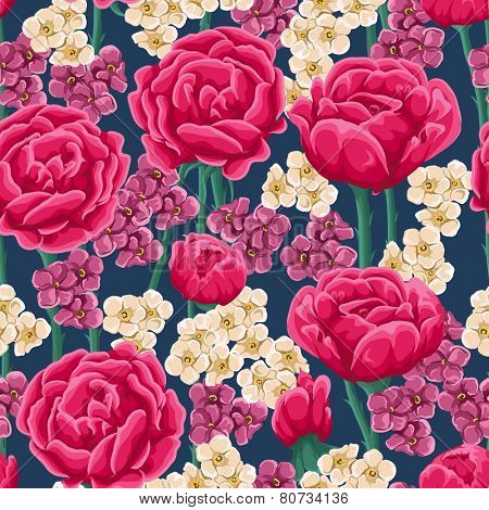 Floral pattern with bright pink roses and small white and magenta flowers.