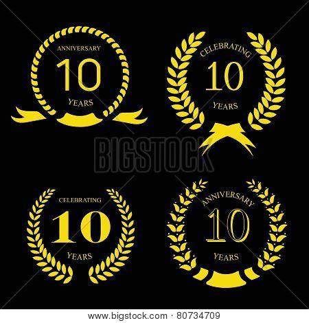 ten years anniversary laurel gold wreath, set
