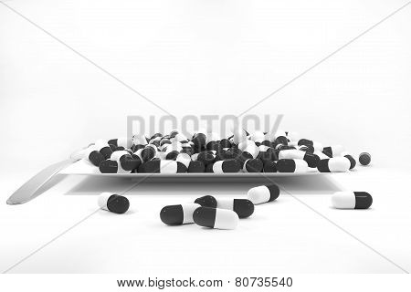 Large Pile Of Black Colored Pills On White Plate