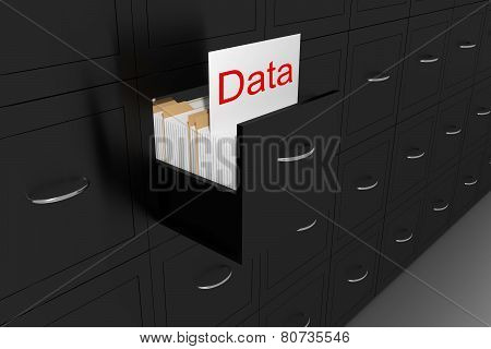 Opened Black File Cabinet White Document Data Illustration