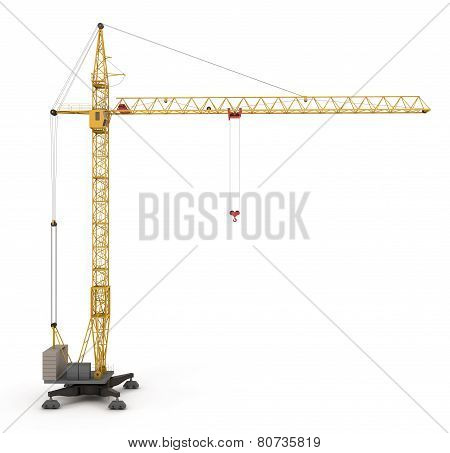 Yellow Construction Crane Isolated On White