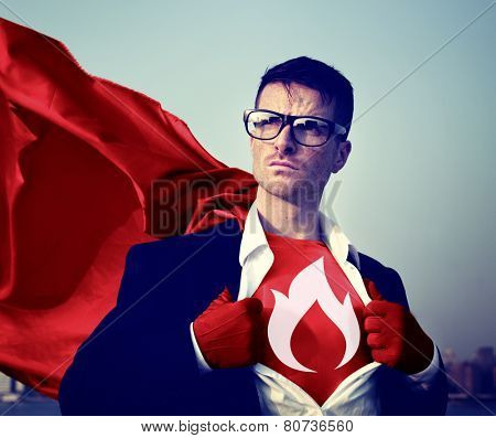 Strong Superhero Businessman Fire Concepts