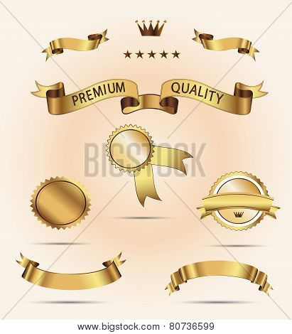Set of Quality Gold Ribbons and Labels