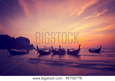 Boats Bay Seashore Sunset Nature Beach Concept
