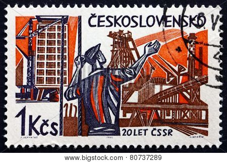 Postage Stamp Czechoslovakia 1965 Worker And New Constructions