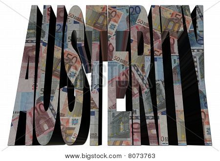 Austerity Text With Euros Illustration