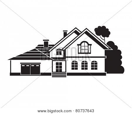 monochrome illustration of private house
