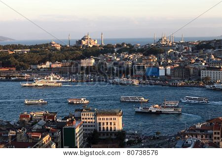 Skyline Of Golden Horn From Galata Tower