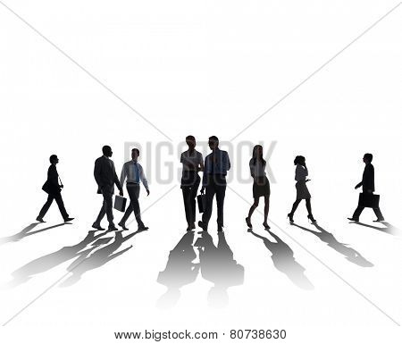 Silhouette Business People Commuter Walking Rusho Hour Concept