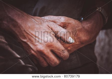 Durty Hand Of Miner Worker