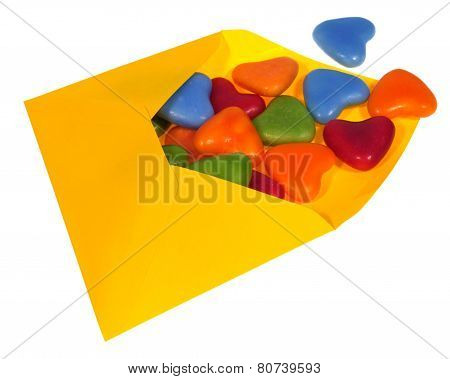 Colourful sweets in an envelop