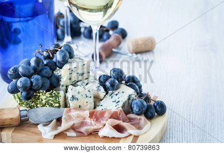Appetizer With Cheese, Ham And Grape