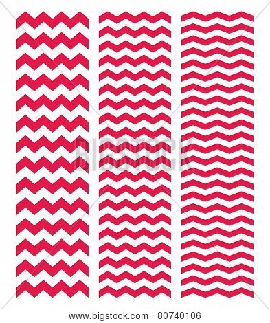 Tile pastel vector pattern set with white and pink zig zag background
