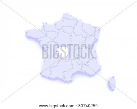 Map of Limousin. France. 3d