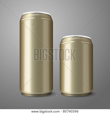 Two blank golden beer cans isolated on gray background