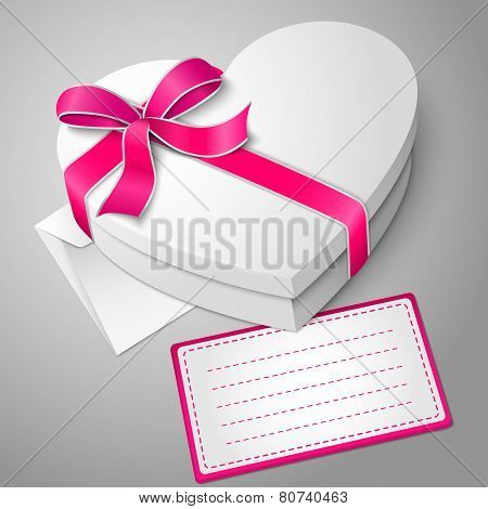 Vector realistic blank white heart shape box with envelope and message card.