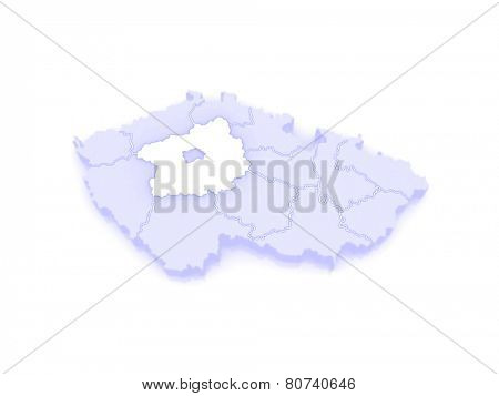 Map of Central Bohemian Region. Czech Republic. 3d