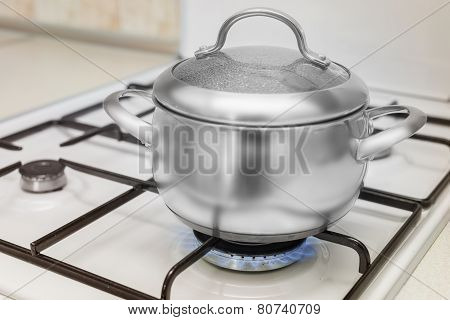 pan on a gas stove