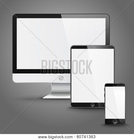 Set of all size screen devices for site preview - computer, tablet, phone. Vector