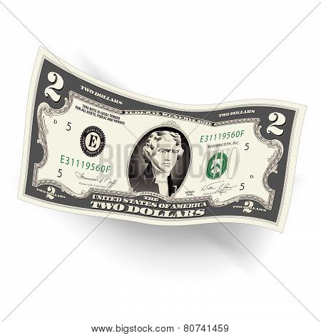 Stylized Drawing of a 2 Dollar Bill