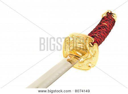 Closeup Of Golden Katana Sword
