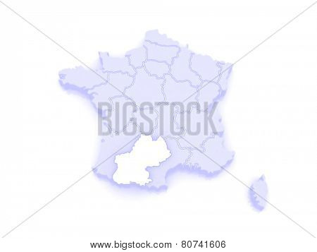 Map of South - Pyrenees. France. 3d