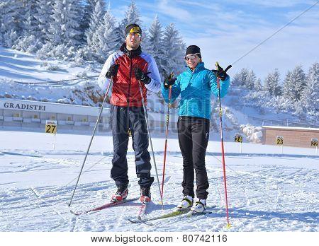 Fundata, Brasov County, Romania -january 02, 2015, Florina Cirstea, Romanian Biathlon Team And Bogda
