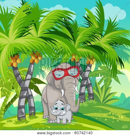 Child illustration of the jungle with a family of elephants.