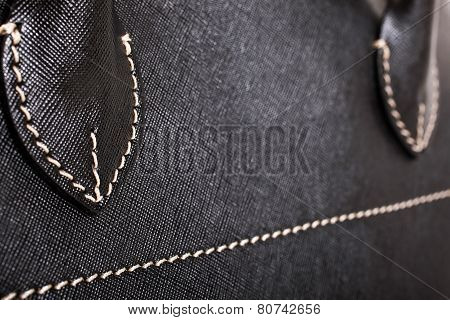 Black Stitched Leather