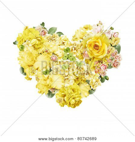 Heart Of Beautiful Yellow And Pink Flowers On St Valentines Day