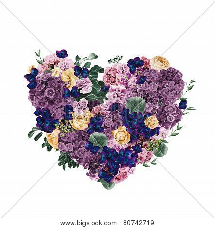 Heart Of Violet And Dark Blue Flowers On St Valentines Day