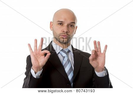 Businessman Making All Right Sign With Fingers In Work Success Concept
