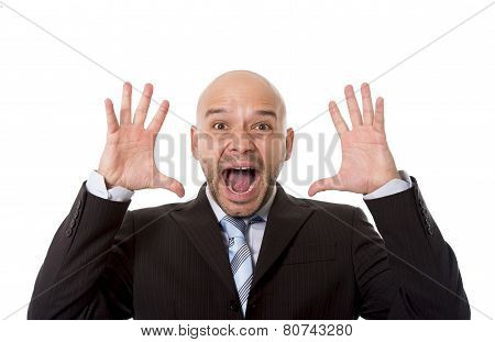 Desperate Brazilian Bald Businessman Screaming And Shouting Crazy Stress With Mad Face Expression In