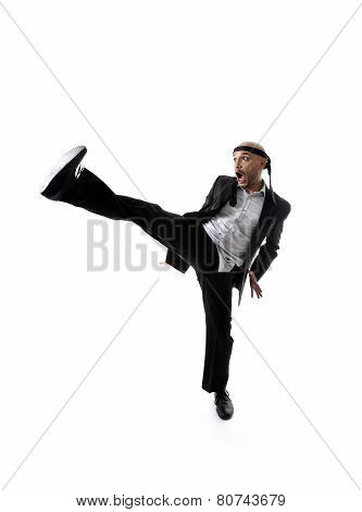 Funny Aggressive Businessman Wearing Suit In Kung Fu Kick Or Karate Attack