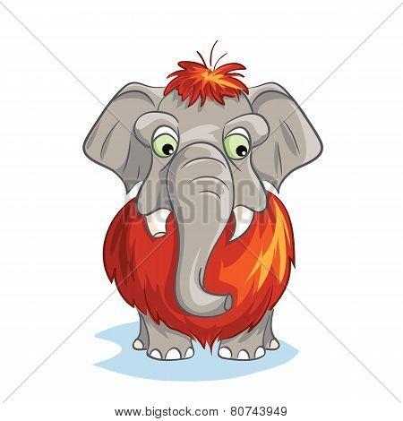 Cartoon image of a baby mammoth.