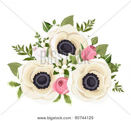 Bouquet of white anemone flowers and pink rosebuds. Vector illustration.