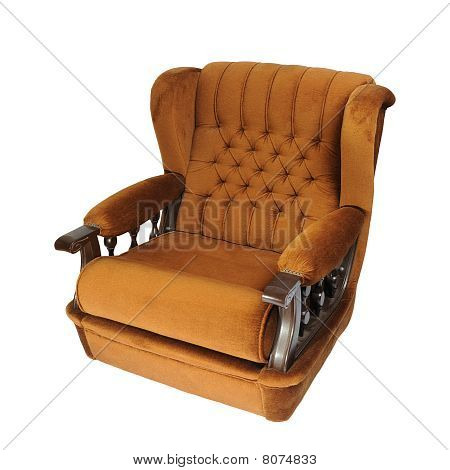 Brown Armchair Over The White