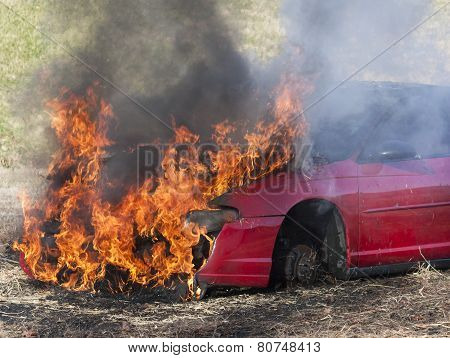 Fire on car