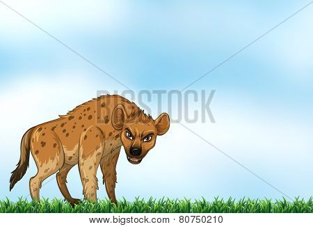 Illustration of a hyena standing on a field