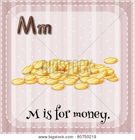 Illustration of a letter m is for money